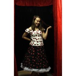 Svart kjol med körsbär 50...